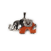 Pandantiv elefant cu cabochon jasp rosu 32x36mm