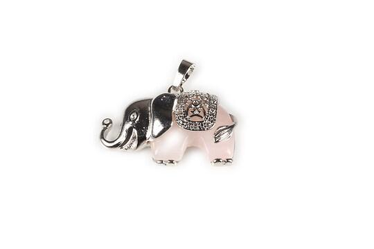 Pandantiv elefant cu cabochon cuart roz 32x36mm