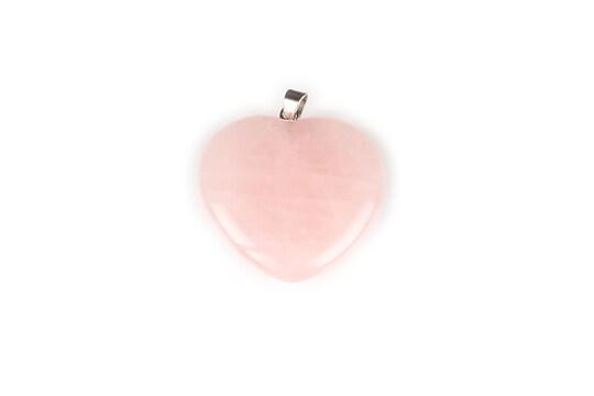 Pandantiv inima cuart roz 33x30mm