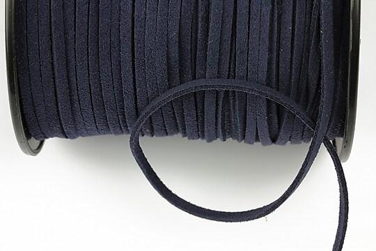 Snur suede (imitatie piele intoarsa) 3x1mm, albastru inchis (5m)