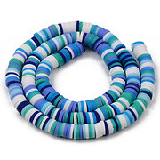 Sirag margele Heishi rondele din lut polimeric 6x1-1,5mm - mix mov albastru