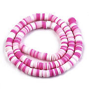 Sirag margele Heishi rondele din lut polimeric 6x1-1,5mm - mix roz