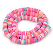 Sirag margele Heishi rondele din lut polimeric 6x1-1,5mm - mix roz multicolor