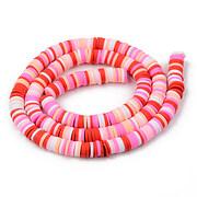 Sirag margele Heishi rondele din lut polimeric 6x1-1,5mm - mix roz rosu
