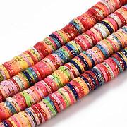 Sirag margele Heishi rondele din lut polimeric 6x0,5-1mm - multicolor cu sclipici auriu