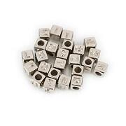 Margele cu litere din plastic, cub 6mm, 100 buc, argintiu inchis