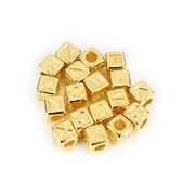 Margele cu litere din plastic, cub 7mm, 100 buc, auriu