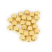 Margele cu litere din plastic, plat 7mm, 100 buc, auriu