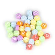 Margele cu litere din plastic, plate 7mm, 100 buc, multicolor