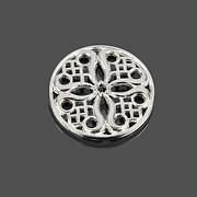Link argintiu deschis cu model filigranat 24mm