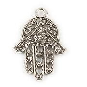 Pandantiv argintiu antichizat mana Hamsa 41x26mm