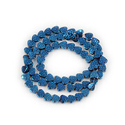 Sirag hematit electroplacat inima 6x6,5mm - albastru