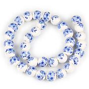 Sirag portelan pictat sfere 10mm - flori albastre