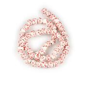 Sirag portelan pictat sfere 6mm - flori rosii