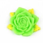Cabochon rasina trandafir cu frunzulite 36mm - verde deschis mat