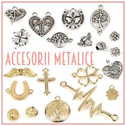 Accesorii metalice aurii, argintii, distantiere, pandantive, charmuri, linkuri